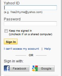 Yahoo log in using Facebook and Google