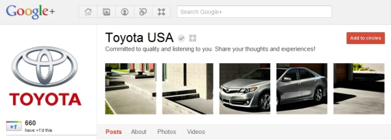 Toyota Google Plus Page