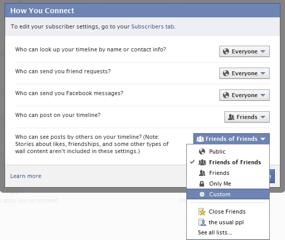 Facebook Timeline - How You Connect - Hidden Posts