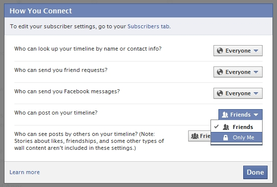 Facebook Timeline - How You Connect - Private Posts