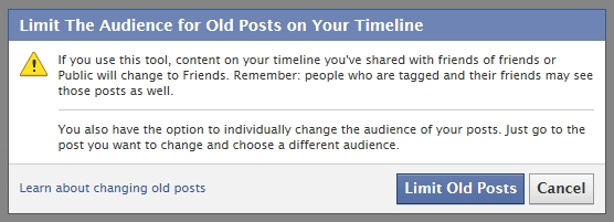 Facebook Timeline - Limit Old Posts Audience